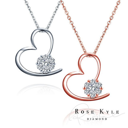 Rosekyle Diamond 0.07ct 18K white & rose gold Necklance