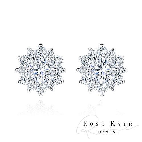 Rosekyle Diamond GIA 0.30ct F color /18K white gold Earrings