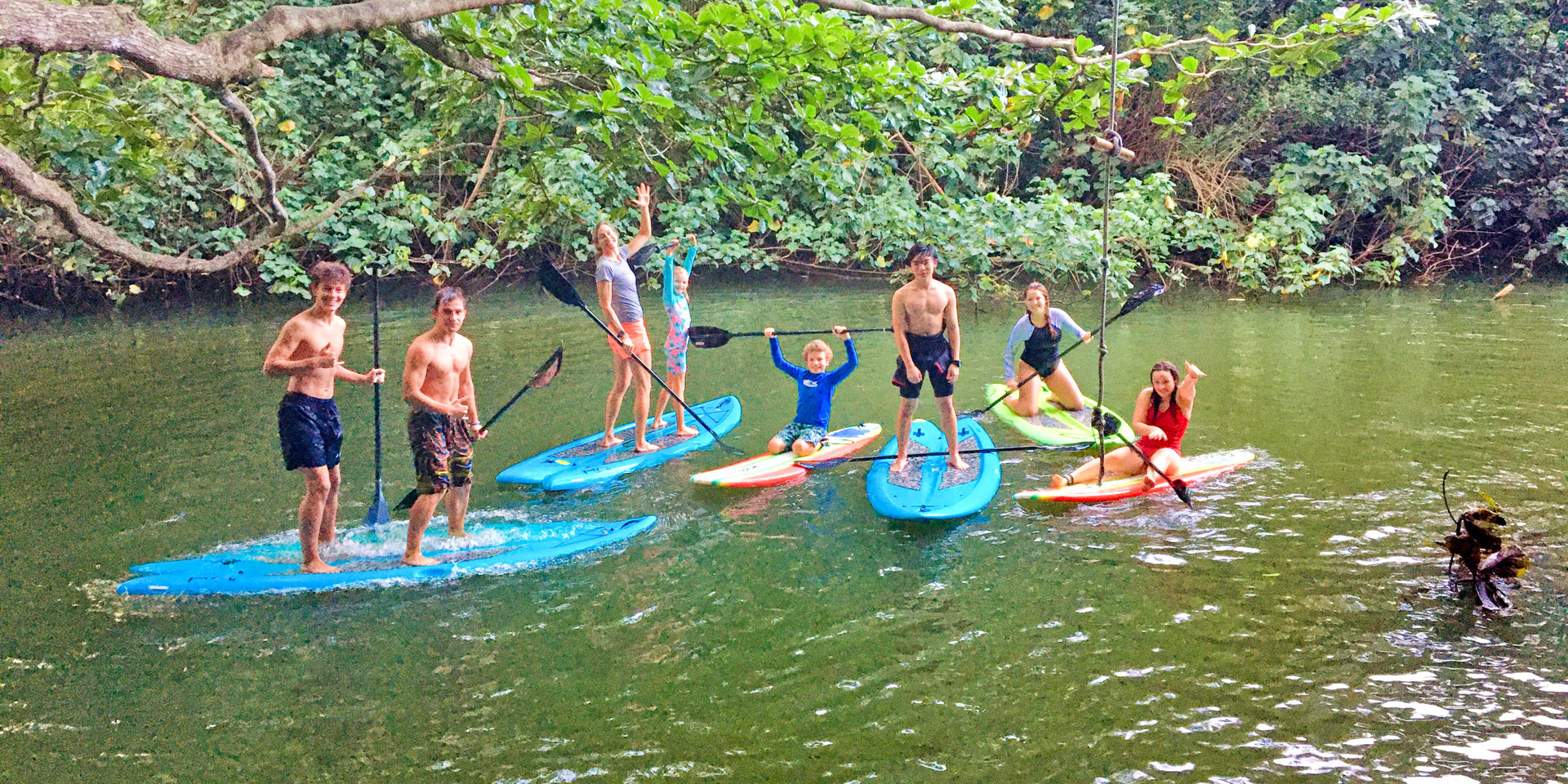 Stand up paddle boards on Waimea river