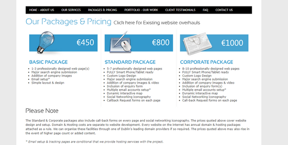 Pricing from other Web Designers