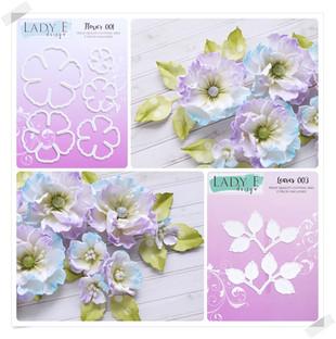 Lady E Design Flower 001, Leaves 003 Cutting Die