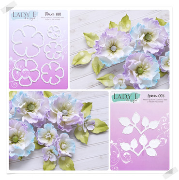 Lady E Design Flower 001, Leaves 003 Cutting Die