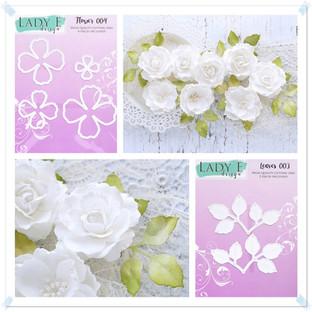 Lady E Design Flower 004, Leaves 003 Cutting Die