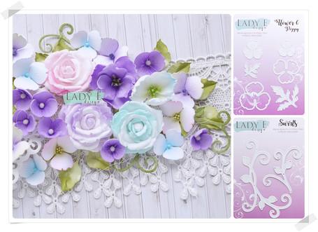 Lady E Design Swirls & Flower 6 Cutting Die
