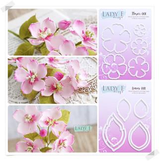 Lady E Design Flower 001, Leaves 001  Cutting Die