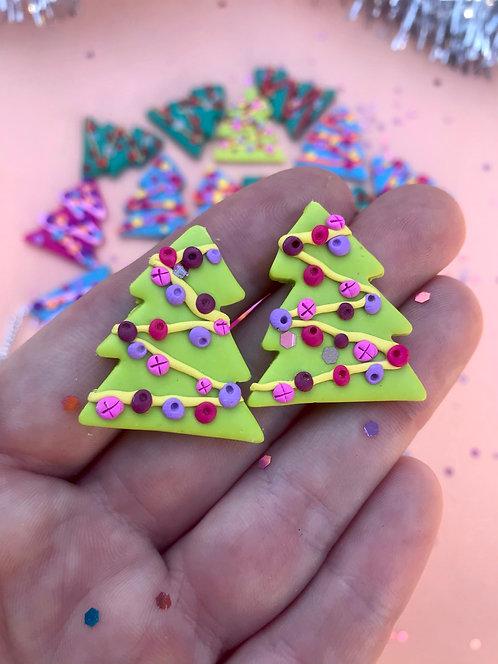 Lime green Christmas tree studs