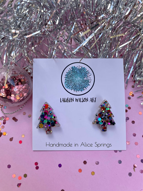 Rainbow resin tree studs