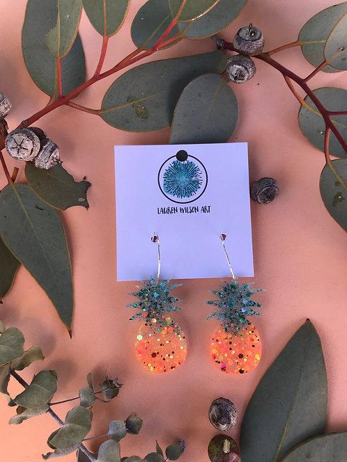 Resin and glitter Pineapple hoops