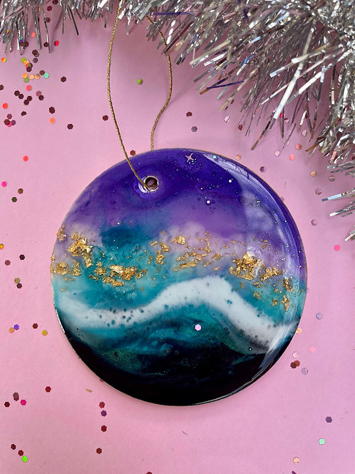 Purple, blue and gold Christmas tree ornament