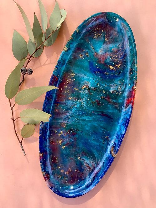 Large resin platter -Blue and orange