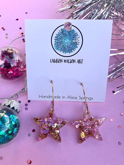 pink and gold star hoops