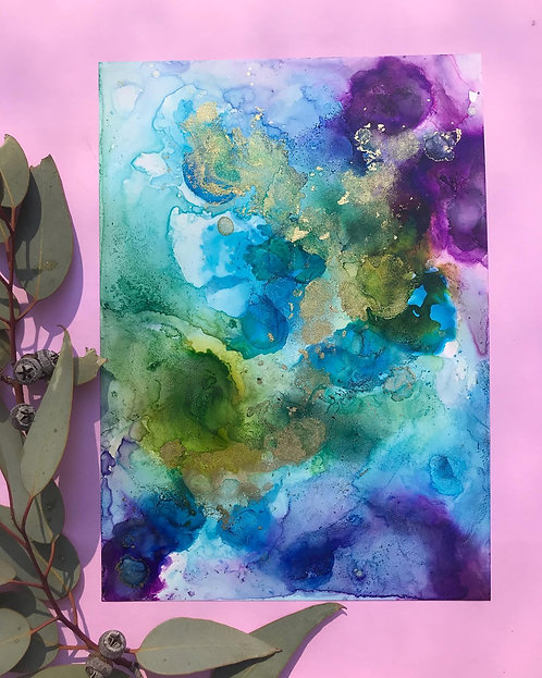Abstract alcohol ink on yupo paper - green, blue, purple and gold