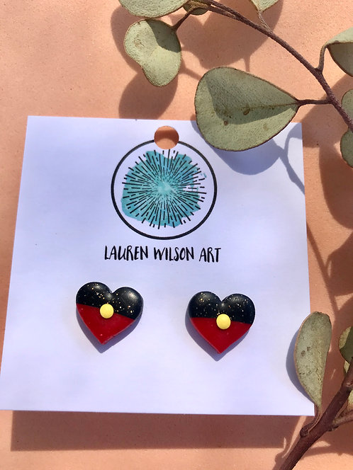 NAIDOC Heart studs small