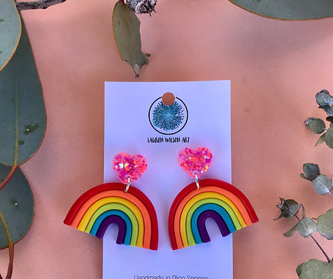 Rainbow dangle with pink glitter heart top