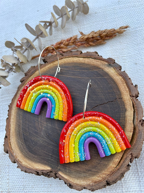 Glitter Rainbow Hoops