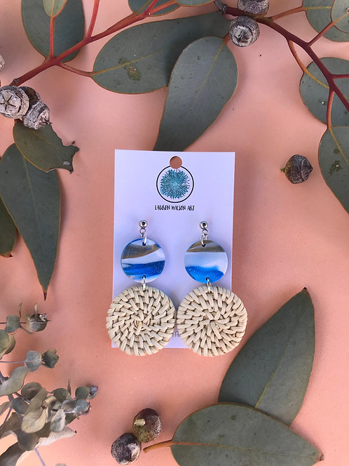 Blue, white and gold marble rattan dangle