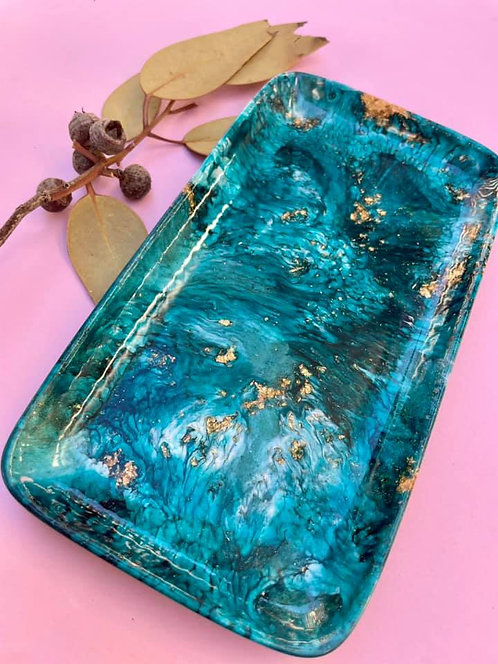 small resin trinket dish - dark turquoise