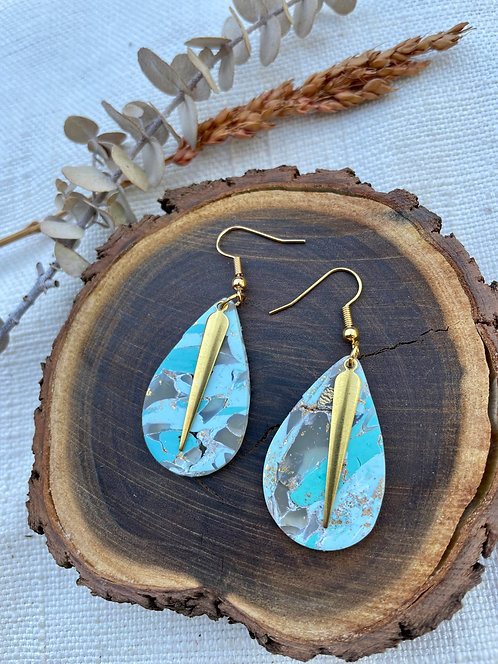 Sage Green and Gold Tear Drops