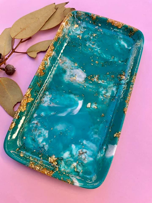 small resin trinket dish -light turquoise