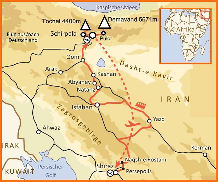 Iran Demavand und Kultur 16 tage Karte.p