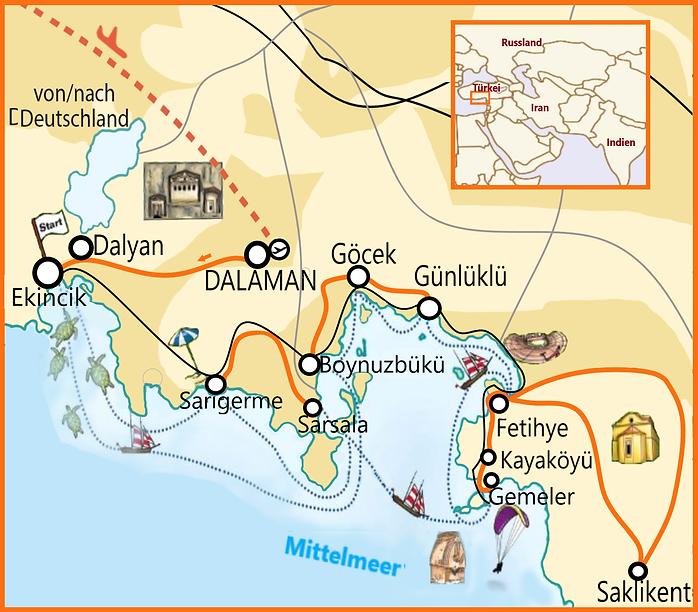 8 Tage Wanderwoche in Dalyan karte.jpg.p