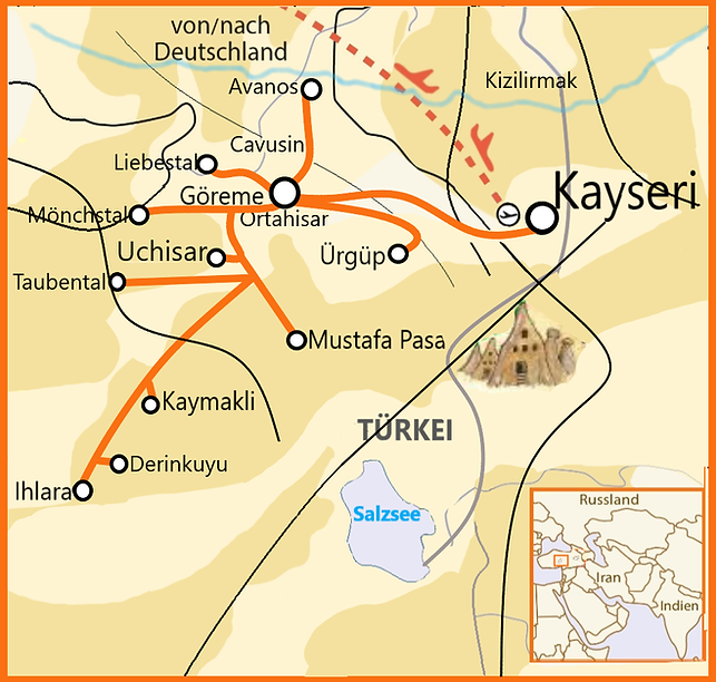 8 Tage Wander Tour Kappadokien Karte  .p