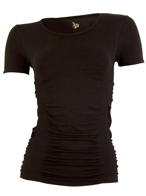 Short sleeve gathered top - black