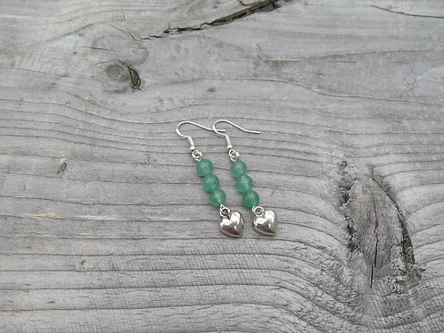 Green Aventurine Heart Earrings