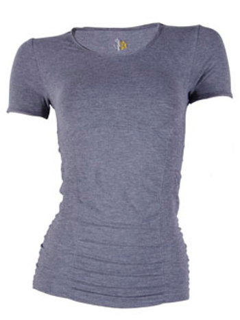 Short sleeve gathered top - grey