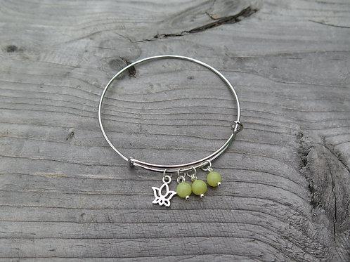 Bangle - olive jade - choose your charm