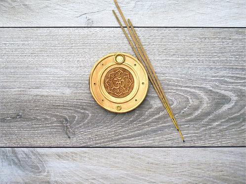Wood Om incense holder