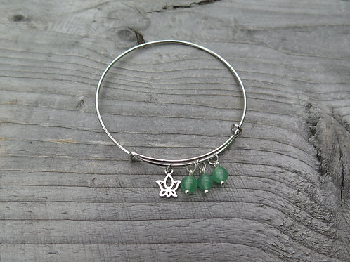 Bangle - green aventurine - choose your charm