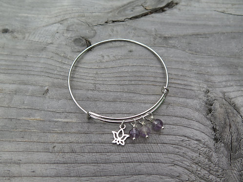 Bangle - amethyst - choose your charm