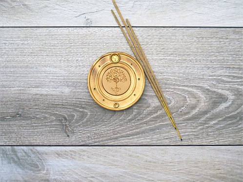Wood Yoga tree incense holder