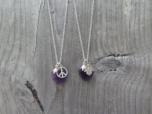 Amethyst Heart -  Peace - Hand