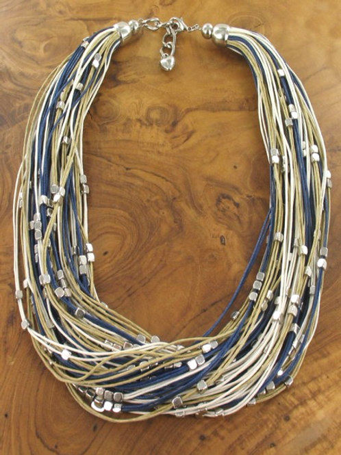 Blue String Necklace