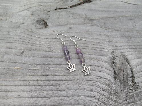 Purple Amethyst Lotus Earrings