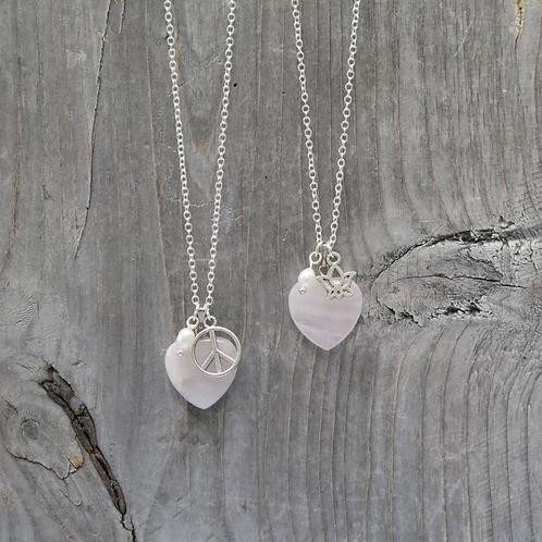 Rose Quarts Heart - Peace - Lotus