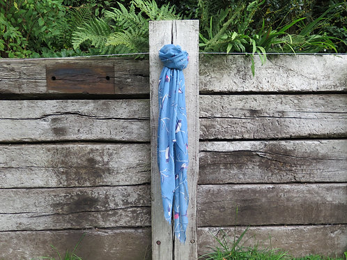 Scarf Blue - Birds