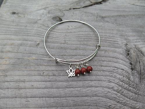Bangle - red jasper -  choose your charm