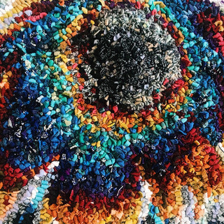 """""""Oil on Pavement"""" Rug made from recycled fabrics. Fall 2018"""