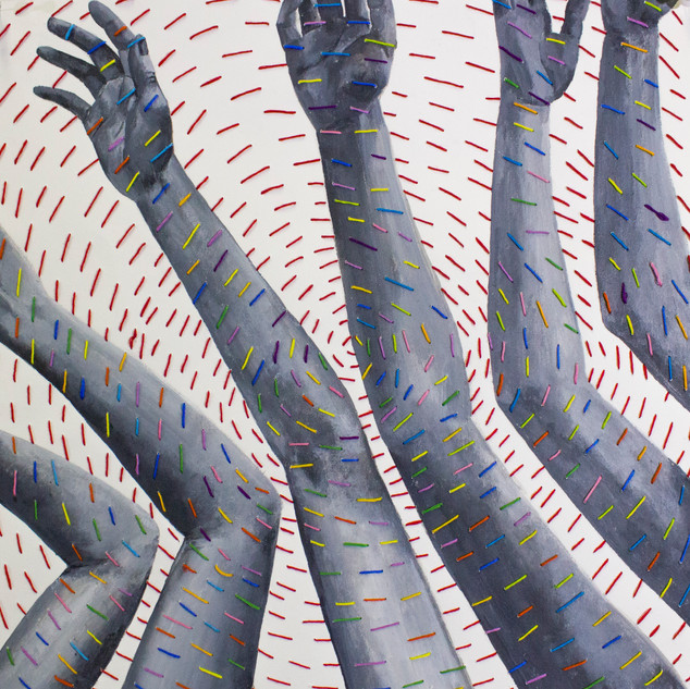 Busy hands- embroidery and paint on paper