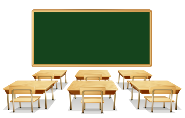 Classroom_with_Green_Board_and_Desks_PNG