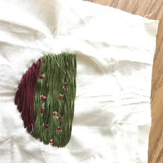 embroidery in process