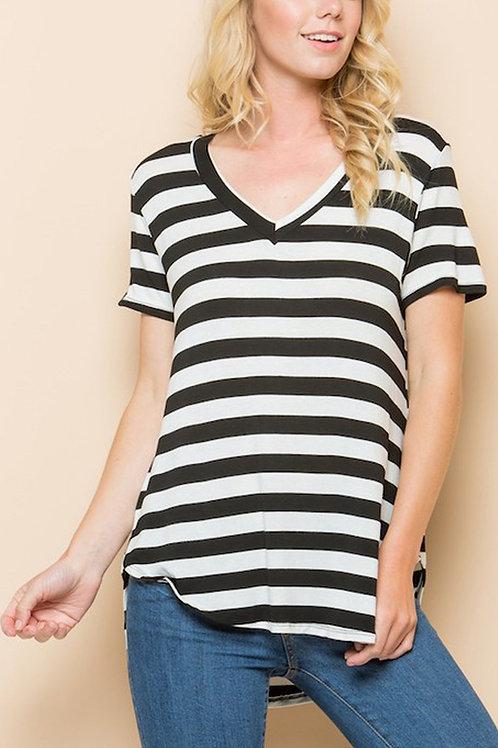 Short Sleeves Striped Pattern V-Neck Top