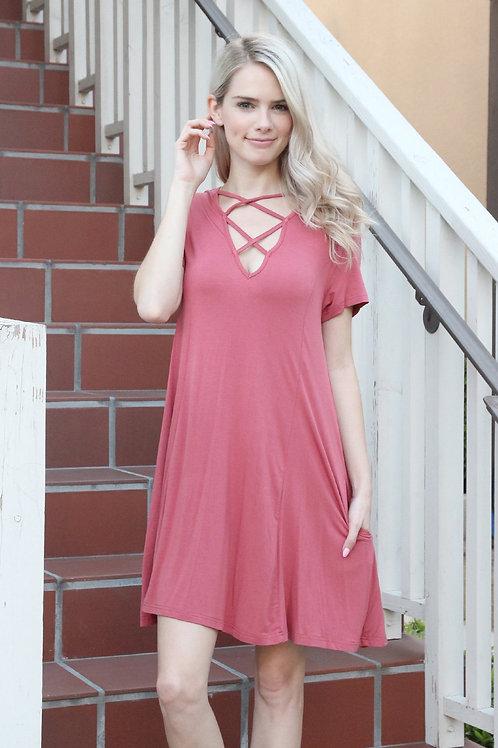 Short Sleeve Strappy Pocket Dress