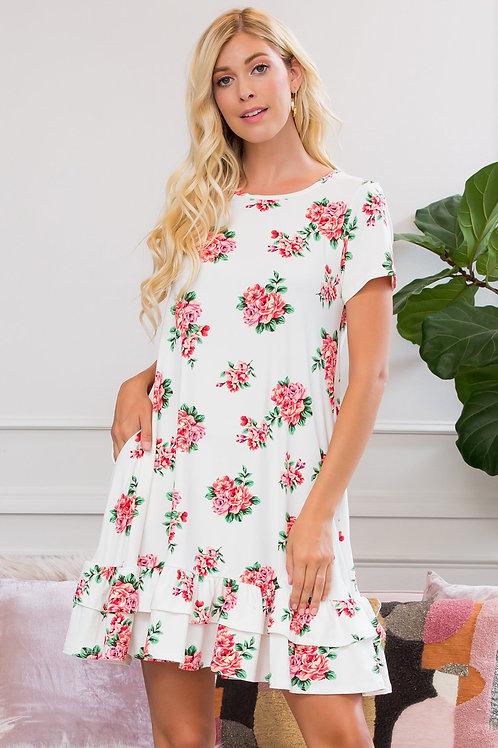 Short Sleeved Floral Ruffled Hem Dress