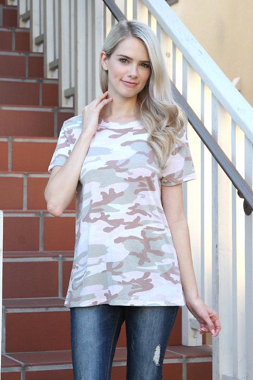 Short Sleeve Vintage Camouflage Top