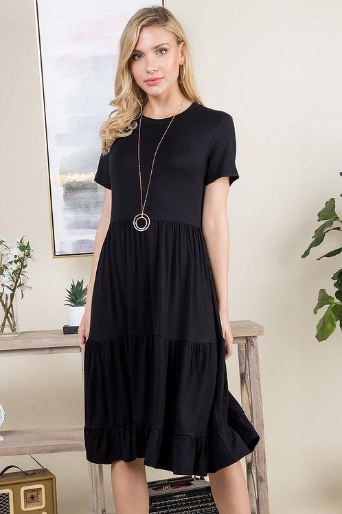 Ruffle Hem Layered Midi Dress