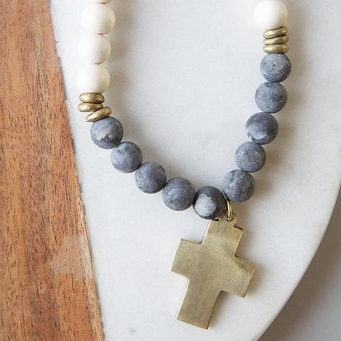 Gemstone Cross Necklace-Labradorite